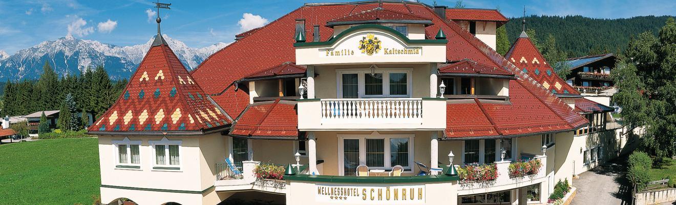 Wellnesshotel Schönruh Seefeld - Aufnahme Eingang Vogelperspektive